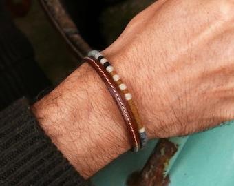 Boho bracelet for men, Mens Bracelet, Mens Jewelry, Gift for him, Leather bracelet, Boho, Lover gift, Mens gift, Husband gift, Gift idea