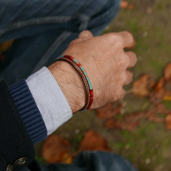 pas cher pour réduction 8371c 77832 Bracelet Homme Cadeau pour Lui, Bracelet bohème Bijoux pour homme, Bracelet  Tressé Multicolore Cadeau pour Homme, Cadeau Saint-Valentin