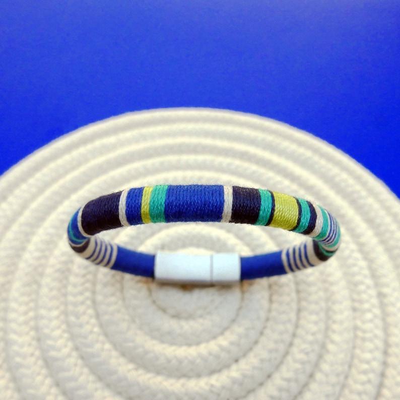 Elegant bracelet for new dad gift colorful mens jewelry Mens cuff bracelet 2 years anniversary gift for men Mens bracelet nautical blue