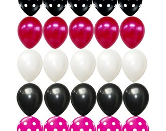 25 X Black Pink White Latex Balloons Polka Dots Assorted Minnie Mouse Theme Decorations Kids Birthday Baby Shower Party Supplies