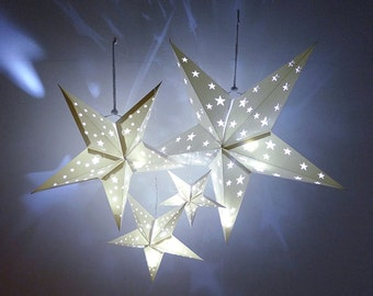 4 Size Hanging Decor set White Paper Star Lantern Baby shower Wedding Birthday Party Supplies Decorations