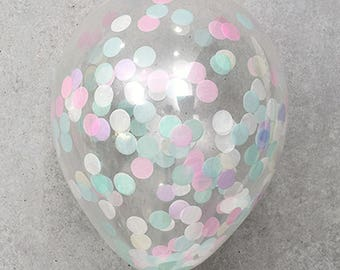 5X Clear Pastel Colors Paper Confetti Transparent Balloons Happy Birthday Decorations Baby shower Wedding Party Supplies