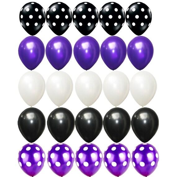 25 x black purple white latex balloons polka dots assorted etsy