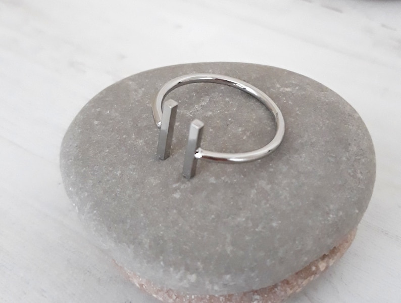 Gift for Her Geometric finger ring Wrap Statement Ring Enhanced plating Silver Asymmetrical Bar Stick Ring Silver Adjustable ring