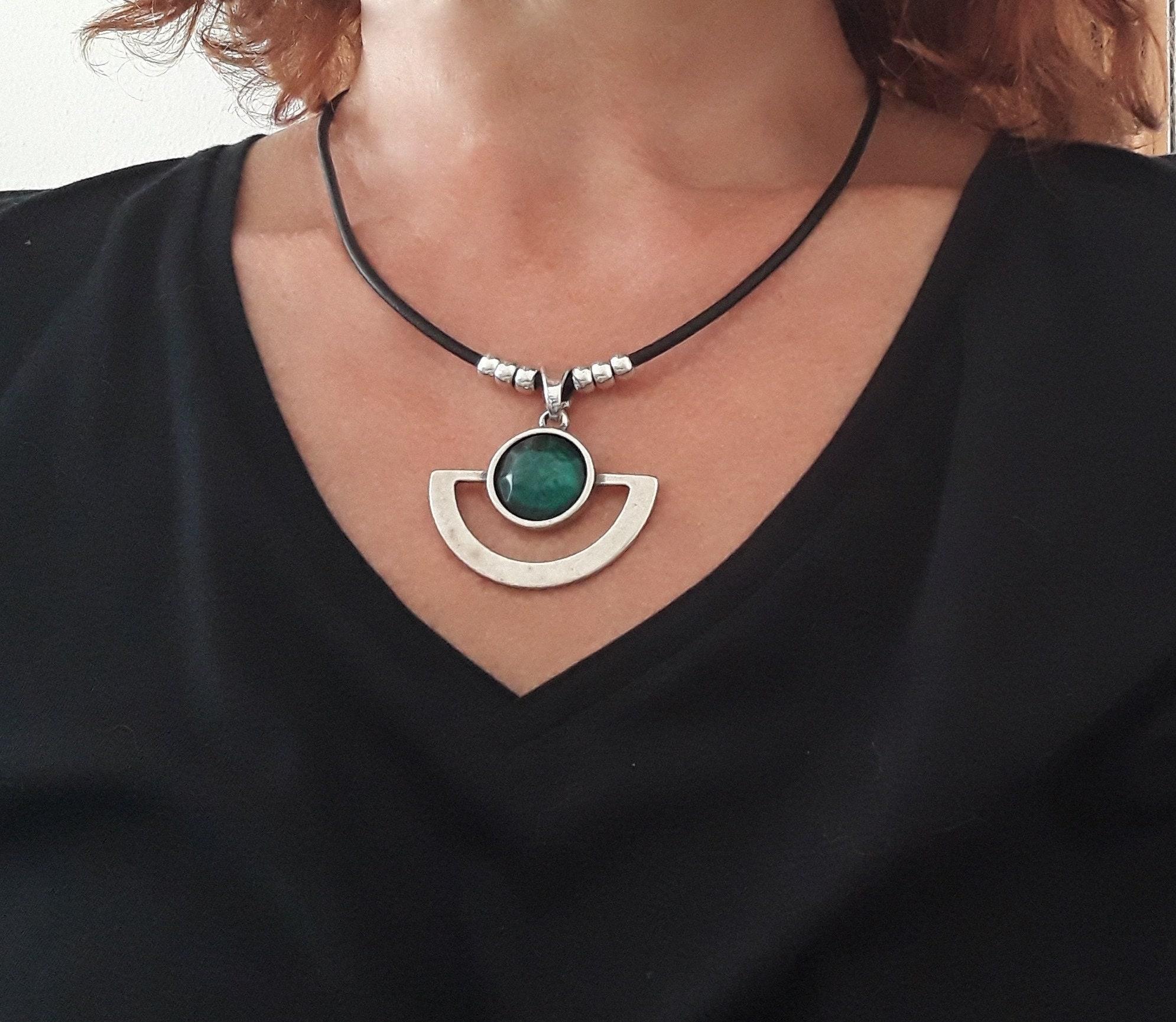 Leder Halsband für Frauen Silber Anhänger Halsband Boho   Etsy