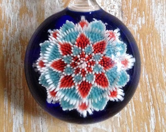 Red White and Teal Star Implosion Pendant
