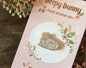 Sleepy Bunny Hard Enamel Pin