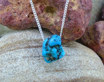 Turquoise Nugget Pendant - Natural Blue Colour, Solid Silver Frame Set, Necklace, American South West Mines, FREE WORLDWIDE DELIVERY 9367A-C