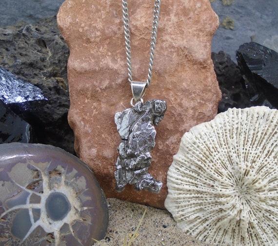 88bb4479c Meteorite Pendant 925 Silver Bail Set Space Necklace | Etsy