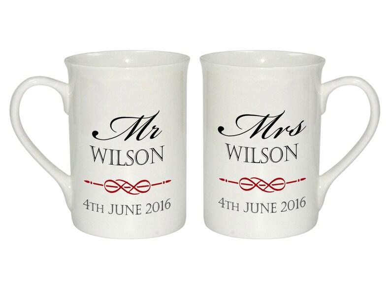 40ebb2e0f88 Personalised Pair of Wedding Mr & Mrs Mugs Beautifully Hand | Etsy