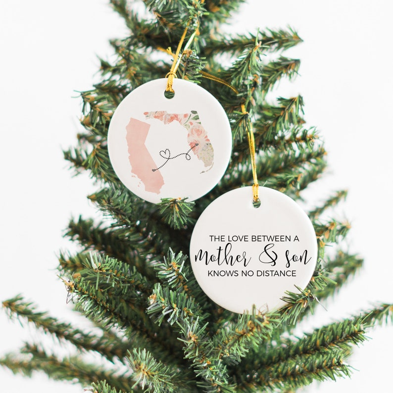 Missing Mom At Christmas.Personalize Ornament For Mom Christmas Gift For Mom Long Distance Mom Gift From Son Christmas Ornament Mother And Son Custom Ornament
