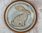Ceramic Hare Coaster, Beverage Drinks Mat, stoneware, blue bronze, embossed design, Artisan, UK studio pottery, Ø 10.5cm 4.13 quot quot