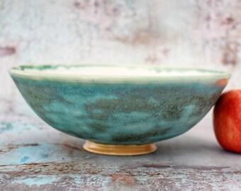"Serving Bowl, Centrepiece Dish, 20cm/7.87"" Ceramic, Green & White, Stoneware, unique, wheel thrown, studio pottery Pots About Pottery"