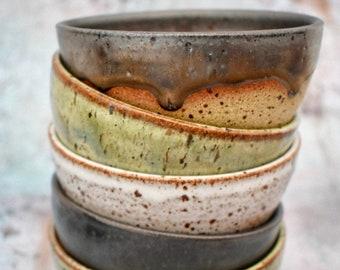 Various Small Handmade Desert Bowl, Rustic Flecked Stoneware•Ceramic, Anthracite Grey, White, Antique Bronze, Green, freckled, 11.5 x 5.5cm