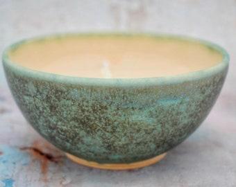 "Handmade Breakfast Bowl, 15cm/5.9"" Ceramic, Green & Cream, Stoneware, Unique, wheel thrown, UK studio pottery, Pots About Pottery"
