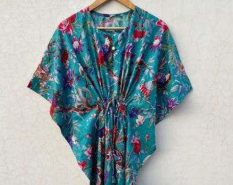 Paradise Bird Print Women Kaftan, 100% cotton light weight summer Kaftan, beach wear dress, long maxi Gown nightwear