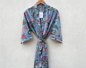 Light Pink Floral Print robes bridesmaid kimono robe Indian floral robe floral kimono Beautiful bridal kimono Indian floral gown