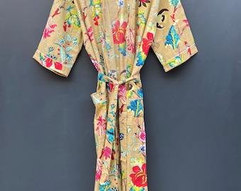 bridesmaid kimono robe printed organic Indian floral robe floral kimono Indian floral gown Floral Print robes Beautiful bridal kimono