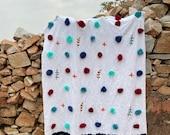 Hand Embroidered White Bleached Blanket Hand Spun Super Soft Khadi Cotton Throw Handmade Boho Picnic Rug Hand Woven Beach Rug Pom Pom