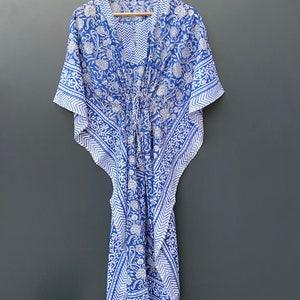 cotton light weight summer wear beach wear dress Hand Block floral print women/'s kaftan maxi Gown nightwear