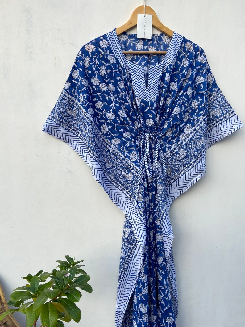 maxi Gown nightwear Mustard cotton light weight summer wear Hand Block floral women/'s kaftan beach wear dress