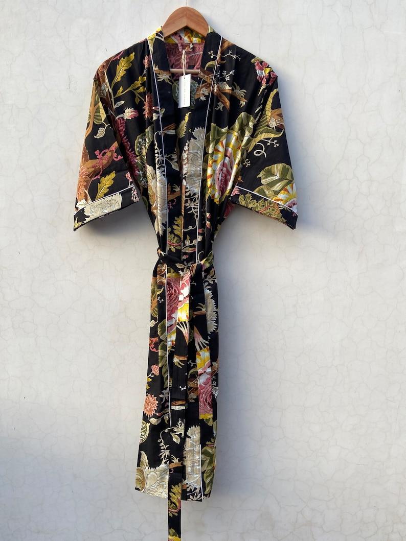 Indian floral robe floral kimono Indian floral gown Beautiful bridal kimono printed organic Floral Print robes bridesmaid kimono robe