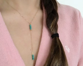 Delicate Y-Necklace- Turquoise