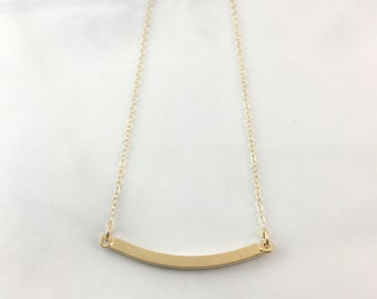 Curved Bar Necklace-- Gold