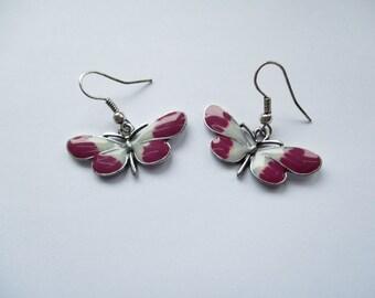 Vintage Enamelled Butterfly Drop Earrings, Butterfly, Butterfly Earrings, Drop Earrings, Enamelled Earrings