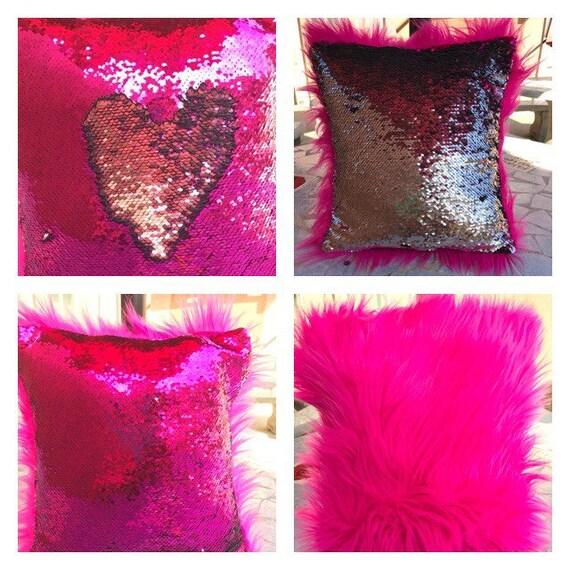 STUFFED Hot Pink GLITTER Throw Pillow