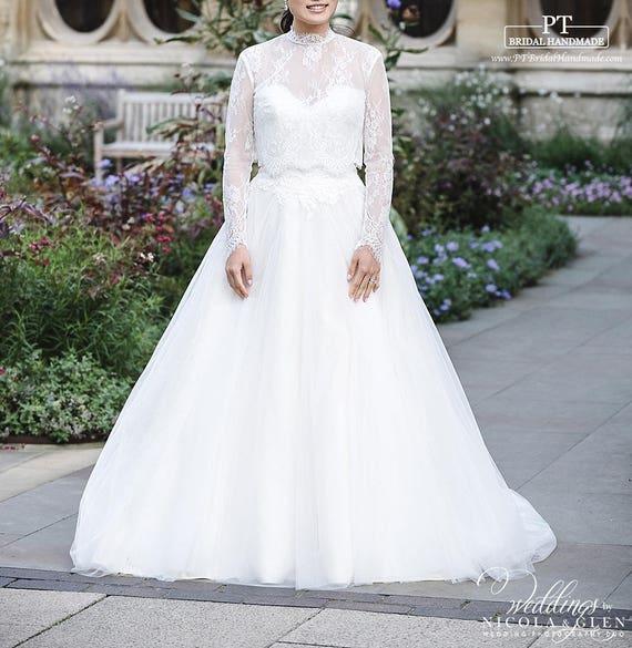 Long Sleeve Lace Wedding Dress Topper 114 Long Sleeve Lace Bridal Top Long Sleeve Wedding Bolero Custom Lace Bridal Topper