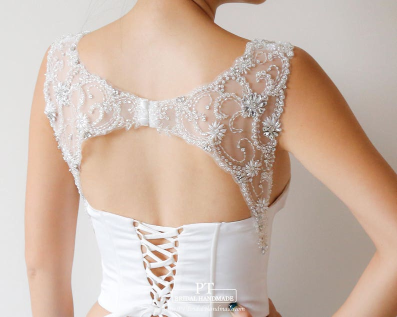 Rhinestone Keyhole Detachable Straps for Wedding Dress #124 Keyhole Strapless Dress Keyhole Straps Attachable Rhinestone Bridal Straps