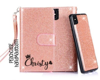41a806dd3b2 Rose gold Glitter Leather Wallet Phone case iPhone 7 case iPhone 7 Plus case  iPhone 8 case iPhone 8 Plus case iPhone X case iPhone XR case