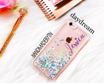 Clear liquid Glitter Phone case Samsung Note 8 case samsung Note 5 case iPhone 6 case iPhone 6 plus case iPhone 8 plus case iPhone x case