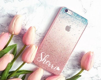 Turquoise Rose gold glitter Phone case iPhone 7 case iPhone 7 Plus case iPhone 6s case iPhone 8 case iPhone 8 Plus case iPhone x case