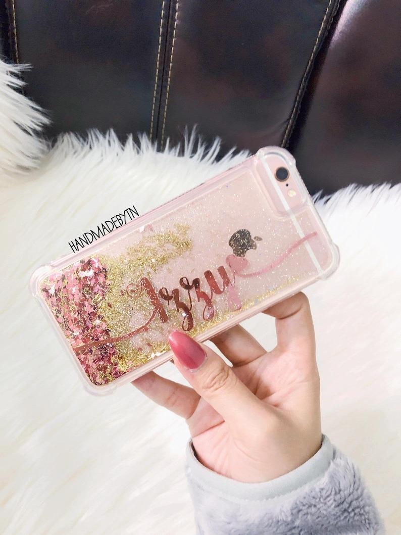 Rose Gold glitter Phone case iPhone 7 case iPhone 7 Plus case image 0