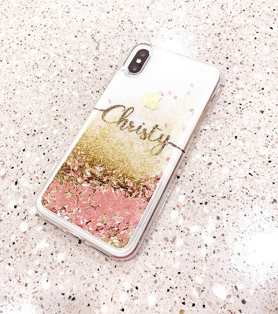 Rose Gold Liquid Glitter Phone Case Iphone Xs Case Iphone Xs Etsy