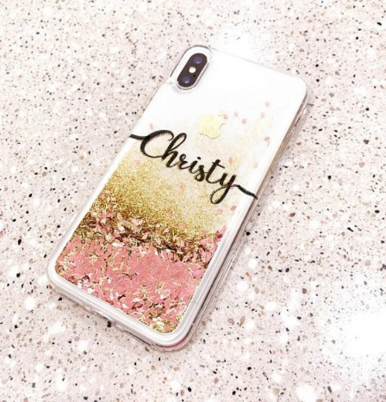 new style 919a9 4e1c1 Rose gold Liquid Glitter Phone case Samsung Note 8 case, Note 9 case iPhone  6 case iPhone 6 plus case iPhone 8 plus case iPhone xs max case