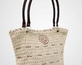 Crochet bag, summer bag, beige , cotton yarn, leather strap, leather cord details, Shoulder bag, 100% handmade, tote bag, women's fashion