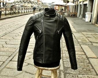 65df04f5ad81 Leather jacket motorcycle Biker Bike Racer Custom GUENDJ