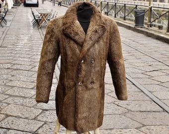 Cappotto Pelliccia uomo vintage vera originale anni 70 taglia M L 76fcec7bea59