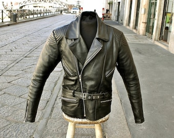Da Uomo Biker Vintage Motorcycle Tan Brown CAFE RACER BANDIERA UK Giacca in Vera Pelle