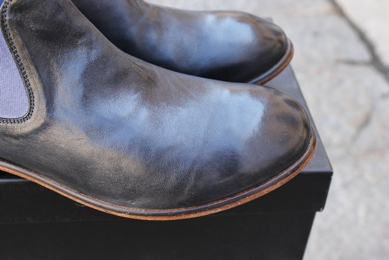 Leather shoes made in italy pattern beatles gray graphite gray number 44
