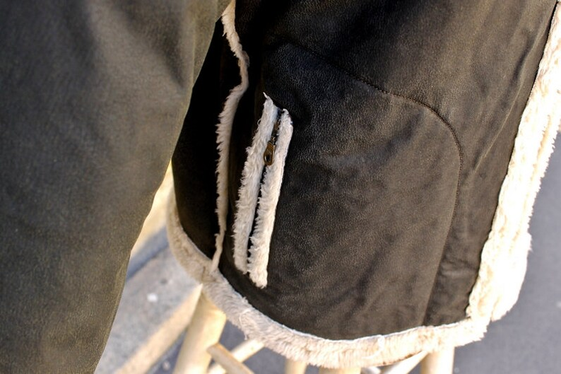 Leather jacket grey Anthracite-style vintage aviator size L  451fccc8239