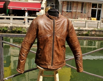 Leather jacket Guendj Motorcycle leather aged Brown size XXL