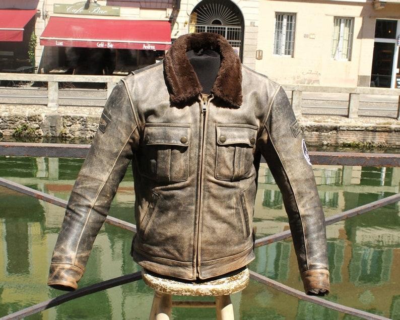 100% authentic 40c08 06ff0 Giubbotto pelle moto aviatore TRIUMPH vintage grigio invecchiato taglia M