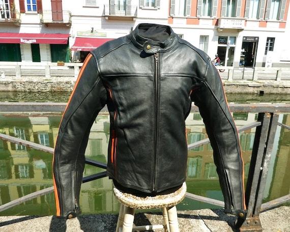 Jacket jacket black leather model Belstaff biker style 70s biker Guendj