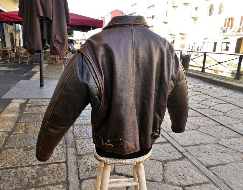 Jacket jacket brown leather aged vintage aviator A-2 flight jacket size L