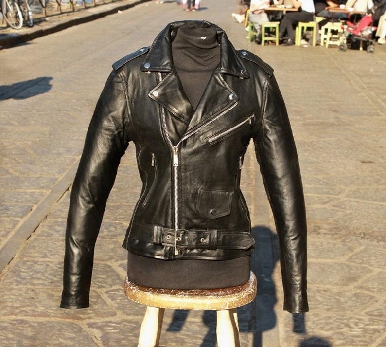 designer fashion 58dfe 55648 Giubbotto giacca chiodo donna in vera pelle metal rock GUENDJ stile schott  perfecto