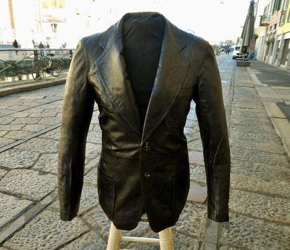 Original vintage dark brown blazer leather jacket